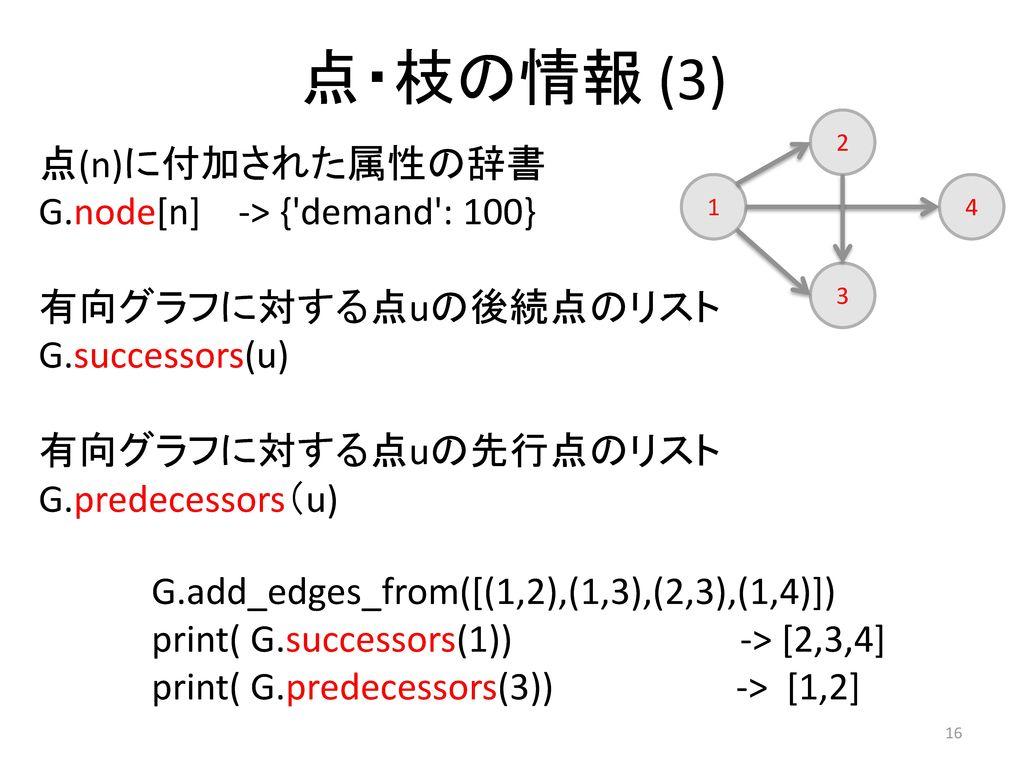 点・枝の情報 (3) 点(n)に付加された属性の辞書 G.node[n] -> { demand : 100}
